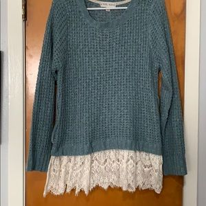 Blue sweater with lace